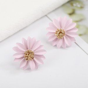 3/$20 Large Gold & Pink Flower Statement Earrings